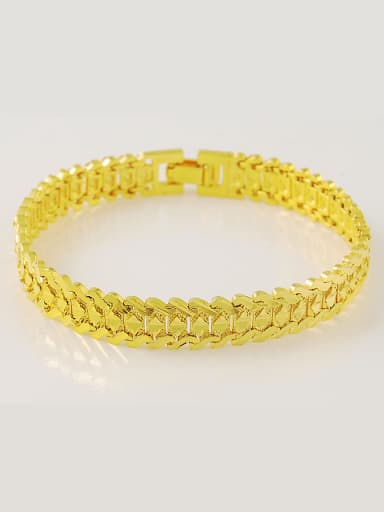 Men Fashion 24K Gold Plated Geometric Shaped Frosted Bracelet