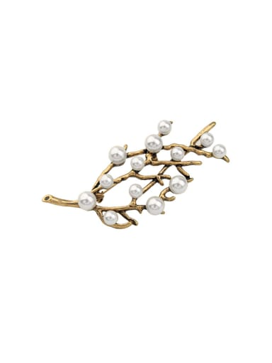 Artificial Pearl Branch Alloy Brooch