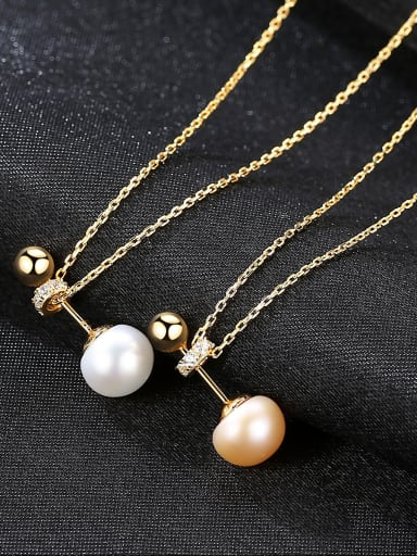 Pure Silver Natural Freshwater Pearl plated 18K-gold Necklace