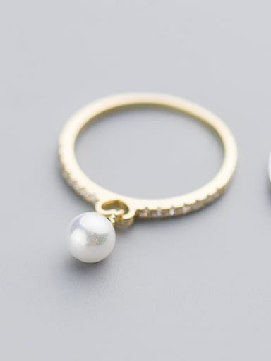 Fresh Gold Plated Shell Pearl S925 Silver Ring