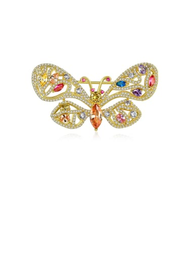 Copper With Cubic Zirconia  Luxury Butterfly Brooches