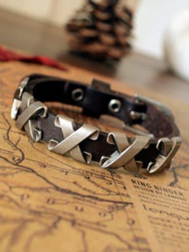 Men X Shaped Cownhide Leather Bracelet