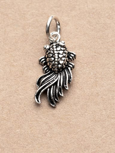 Thai Silver With Antique Silver Plated Cartoon Animal Small goldfish