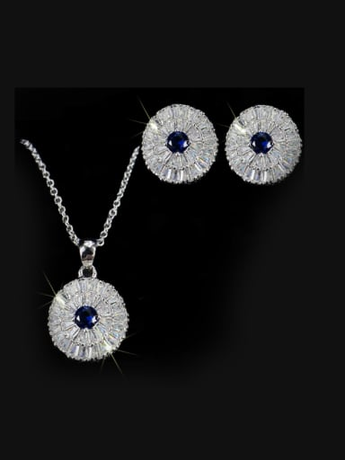 Noble Round Shaped stud Earring Necklace Jewelry Set