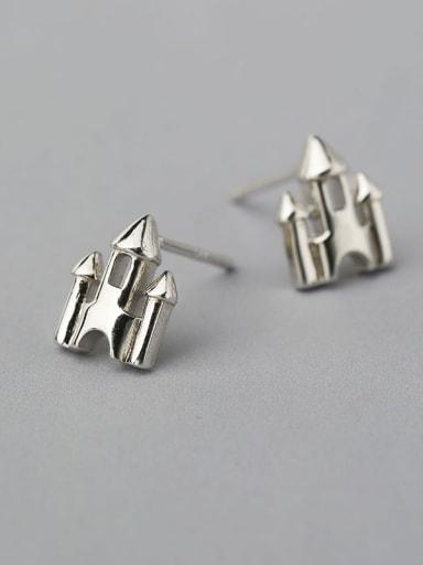 925 Silver Castle Shaped stud Earring