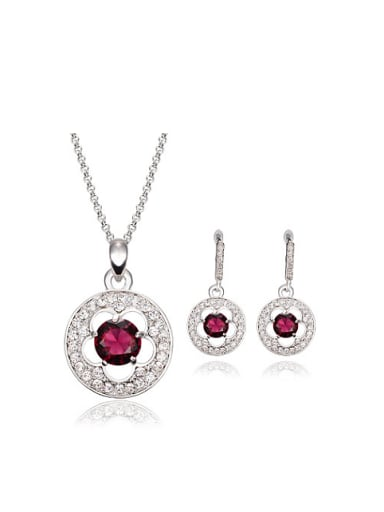 Alloy White Gold Plated Fashion Stone and Rhinestone Two Pieces Jewelry Set