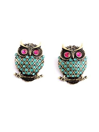 Owl Rhinestones Alloy stud Earring