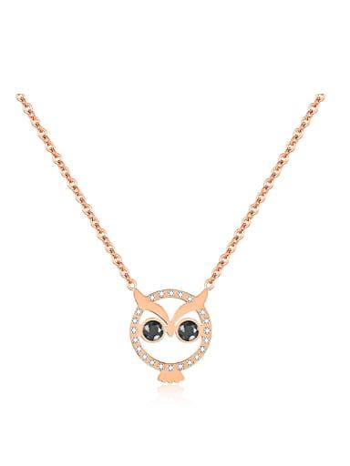 Simple Lovely Owl Rhinestones Titanium Necklace