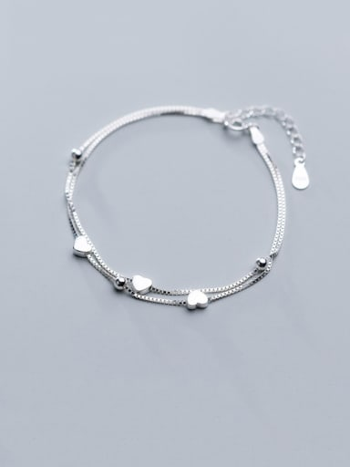 925 Sterling Silver With Platinum Plated Simplistic Heart Bracelets