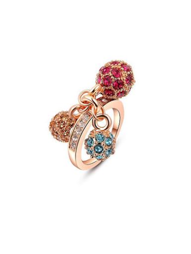 Exquisite Three Balls Shaped Austria Crystal Ring