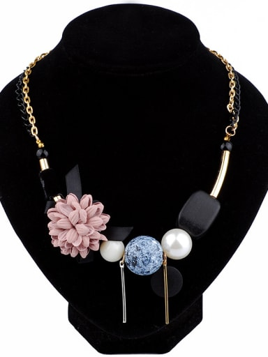 Retro style Cloth Flower Wood Geometries Alloy Necklace