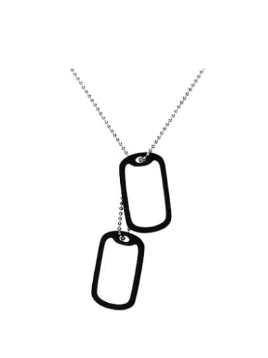 Personality Tag Shaped High Polished Titanium Necklace