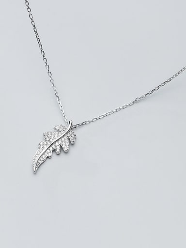 925 Sterling Silver With Platinum Plated Simplistic Leaf Necklaces
