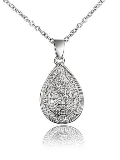 Delicate 18K Platinum Plated Water Drop Zircon Necklace