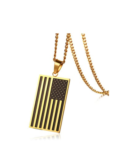 Personality Flag Shaped Gold Plated Titanium Pendant