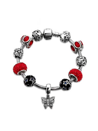 Personality Red Butterfly Shaped Glass Stone Bracelet