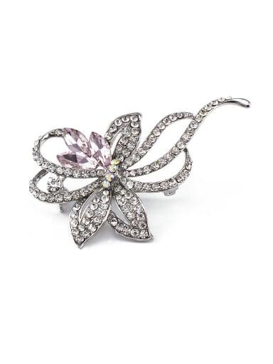 Pink Crystals Flower Brooch
