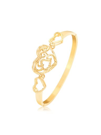 Copper Alloy 24K Gold Plated Classical Heart-shaped Hollow Bangle
