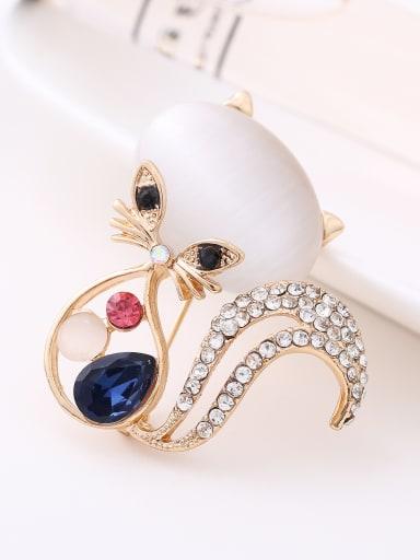 Fashion Kitten Butterflies Leaves Opal stone Rhinestones Brooch