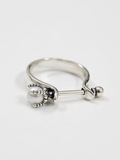Personalized Antique Silver Plated Artificial Pearl Ring