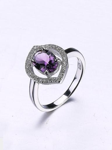 Women Purple Flower Zircon Ring