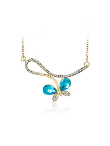 Blue Zircon Gold Plated Butterfly Shaped Necklace