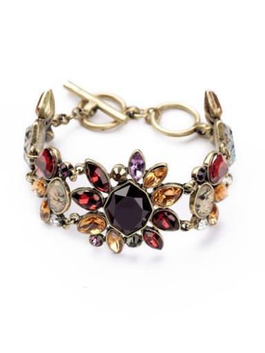 Alloy Colorful Flower Artificial Stones Bracelet