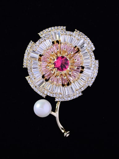Copper With Cubic Zirconia Fashion Flower Brooches