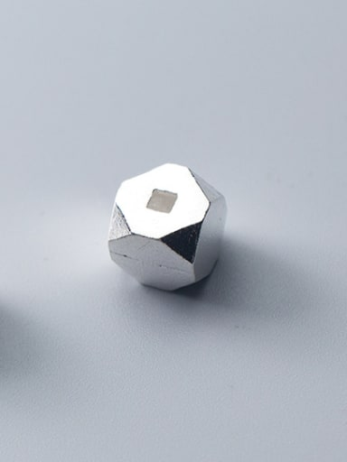 925 Sterling Silver With Platinum Plated Simplistic Geometric Smooth Beads