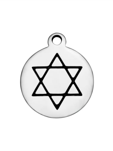 Stainless Steel With Simplistic Round With star of david Charms