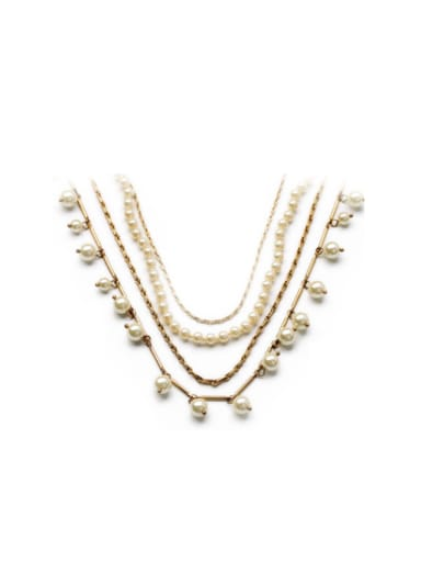 Exquisite Multi- layer Aritificial Pearl  Alloy Necklace