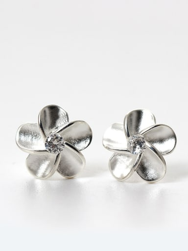 Tiny 925 Silver Flower Cubic Zircon Stud Earrings