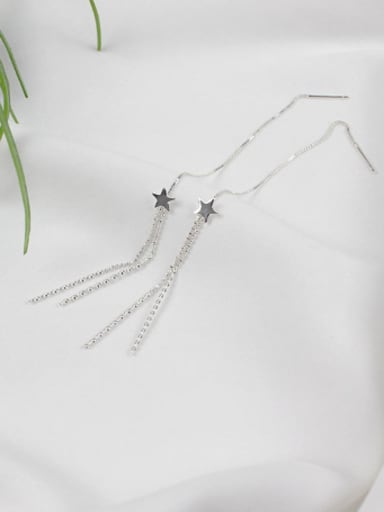 Fashion Little Star Tassels Silver Line Earrings