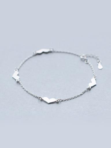 Women Fashion Heart Shaped S925 Silver Foot Jewelry