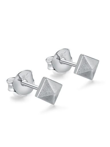 Simple Square 925 Sterling Silver Polish Stud Earrings