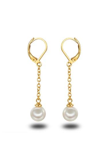 Temperament 18K Gold Plated Artificial Pearl Drop Earrings
