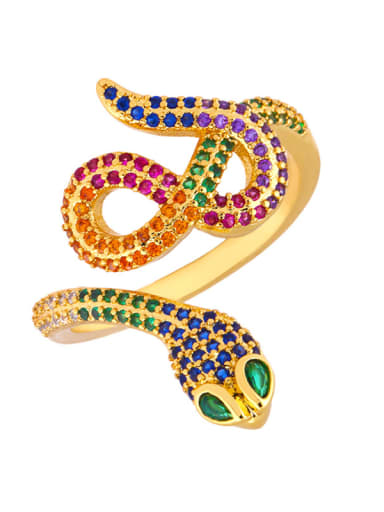 Copper With Cubic Zirconia Fashion Animal snake free size Rings