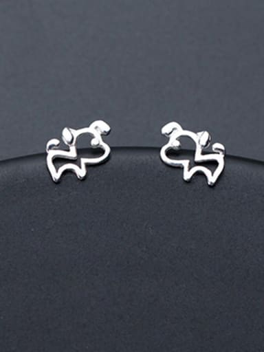 Lovely Hollow Dog Shaped S925 Silver Stud Earrings