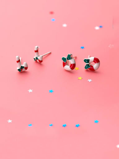 925 Sterling Silver With Platinum Plated Cute Christmas Candy Stud Earrings