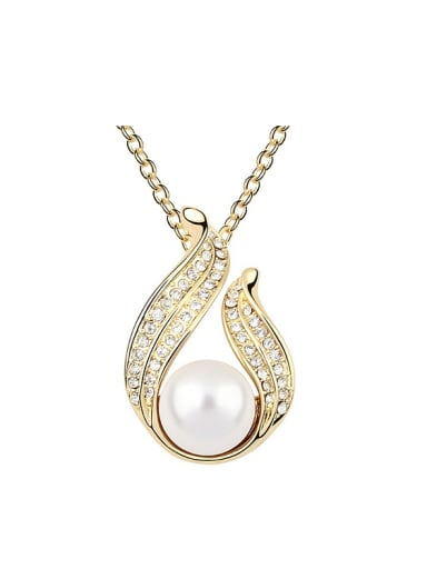 Champagne Gold Plated Imitation Pearl Tiny Crystals-covered Alloy Necklace