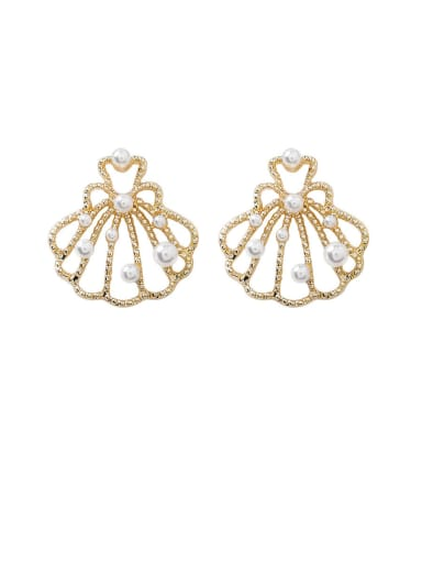 Alloy With Gold Plated Simplistic Hollow Geometric Stud Earrings