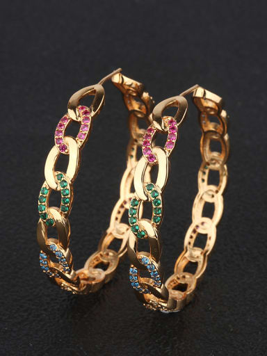 Copper With 18k Gold Plated Fashion Round Hoop Earrings