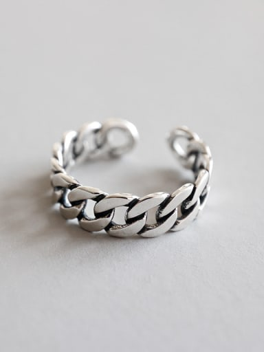 Sterling Silver retro chain  free size ring