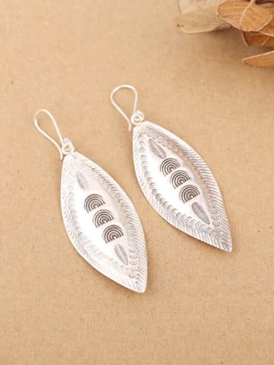 Ethnic Leaf-shaped Silver Handmade hook earring