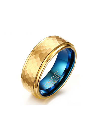 Men Luxury Gold Plated Geometric Tungsten Ring