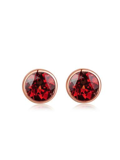 Small Simple Round Garnet Silver Stud Earrings