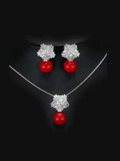 Snowflake Zircon Pearl Jewelry Set