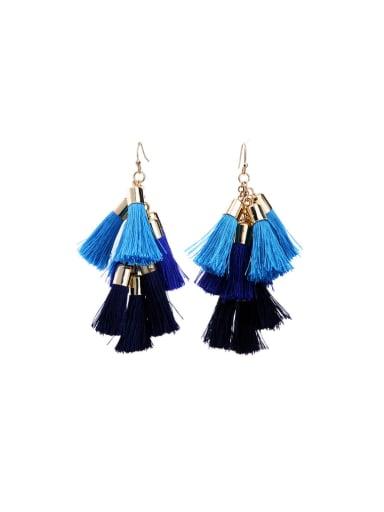 Multi-layer Blue and Black Tassel Drop Chandelier earring
