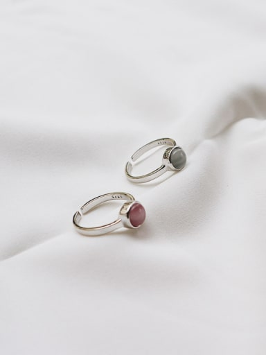 sterling silver  cat's eye stone simple free size ring