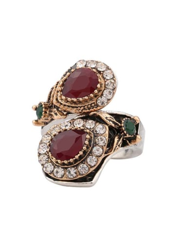 Retro style Resin stones Crystals Alloy Ring